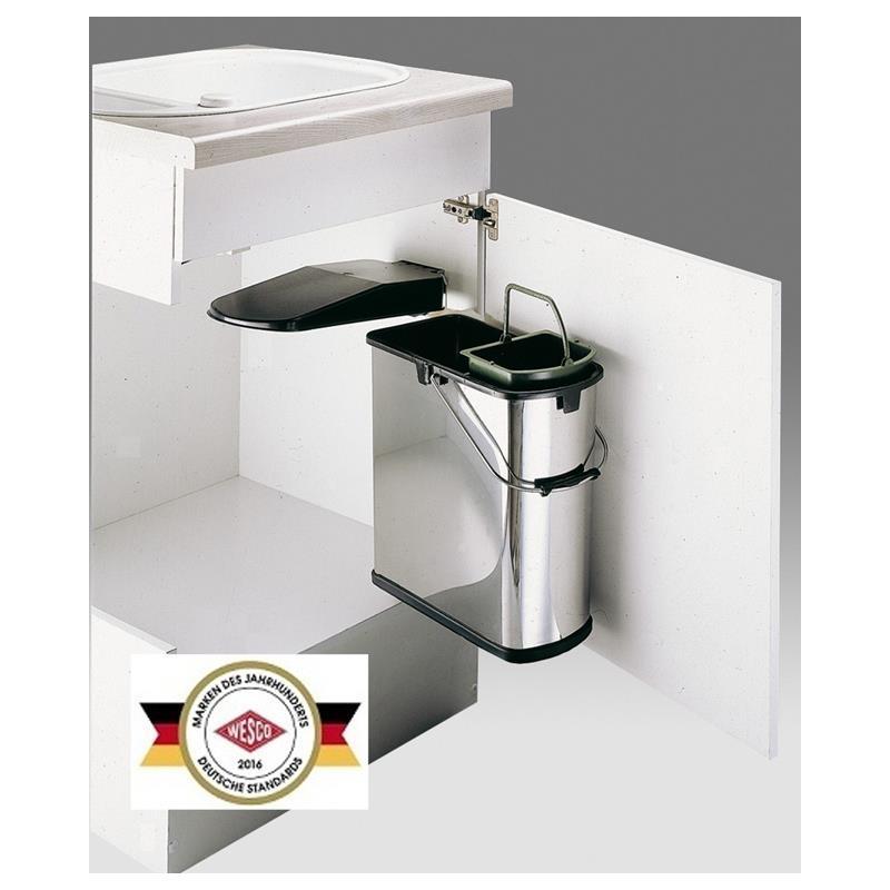 wesco einbau abfallsammler grau edelstahl schwarz 19 l mit 5 l bioeinsatz ebay. Black Bedroom Furniture Sets. Home Design Ideas