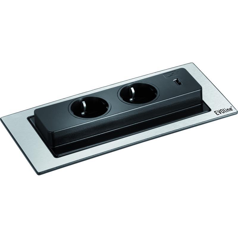evoline backflip cuisine edelstahl 2er steckdose versenkbar drehbar usb charger. Black Bedroom Furniture Sets. Home Design Ideas
