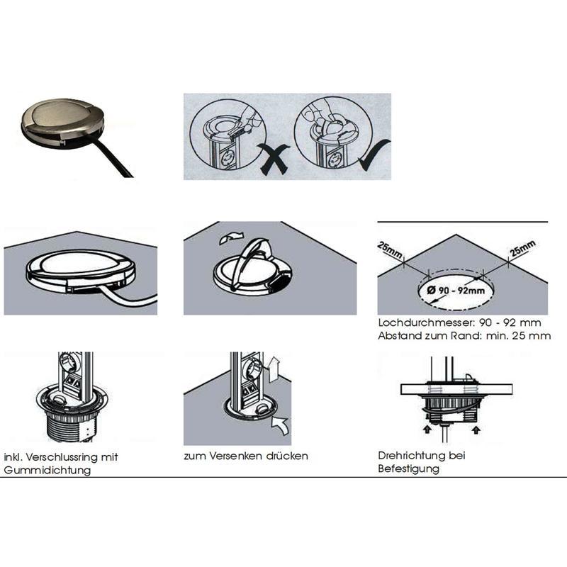 versenkbare energiestation 3 fach steckdose deckel chrom optik mit schukostecker schalter ausziehbar. Black Bedroom Furniture Sets. Home Design Ideas