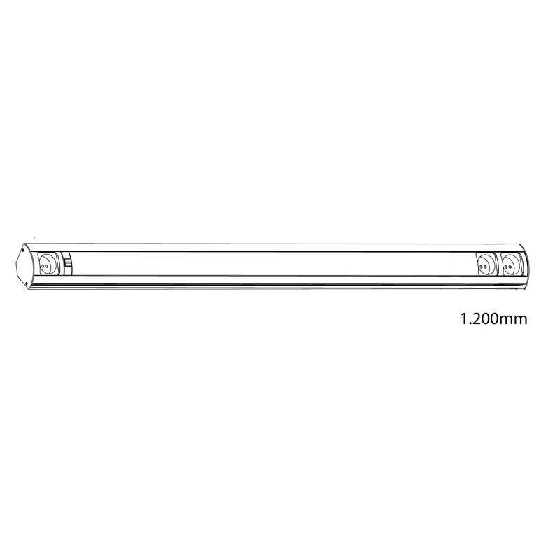Küchenleuchte Corner Einzelleuchte edelstahl 21 W 1200 mm Schalter ...