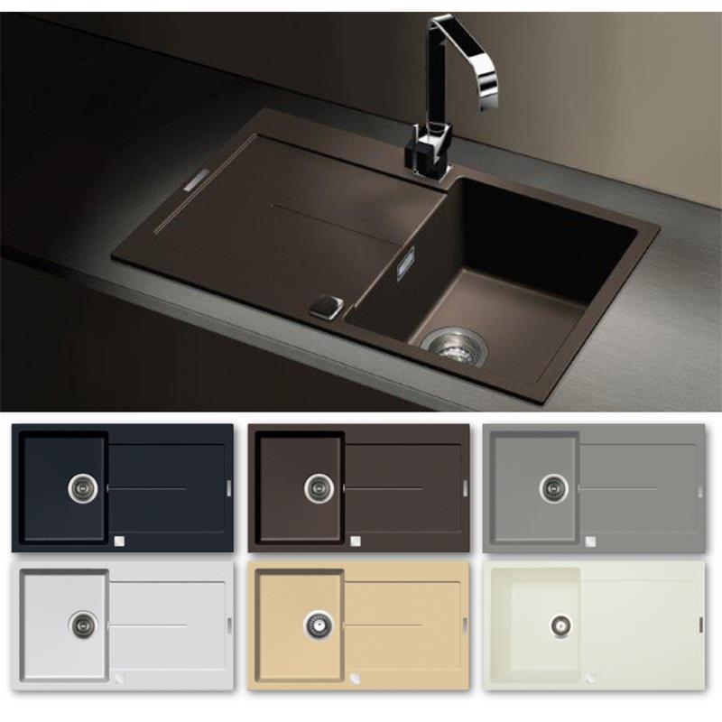 Granitspüle E860 in verschiedenen Farben 86 x 50 cm inkl ...