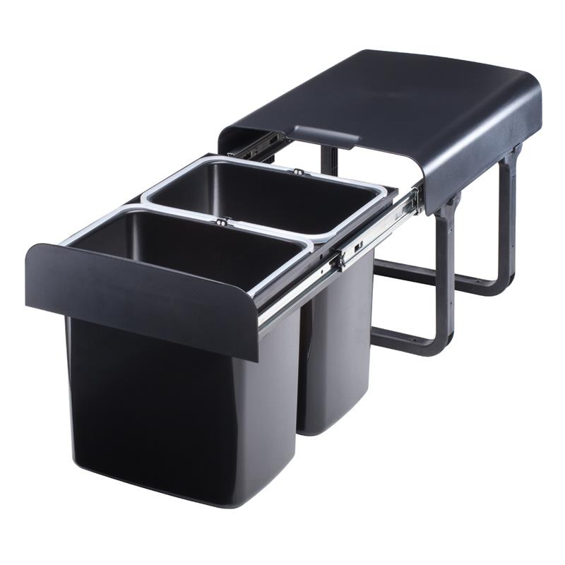 einbau abfallsammler 2x16 liter schwarz ab 40er schrankbreite m lleimer vollauszug. Black Bedroom Furniture Sets. Home Design Ideas
