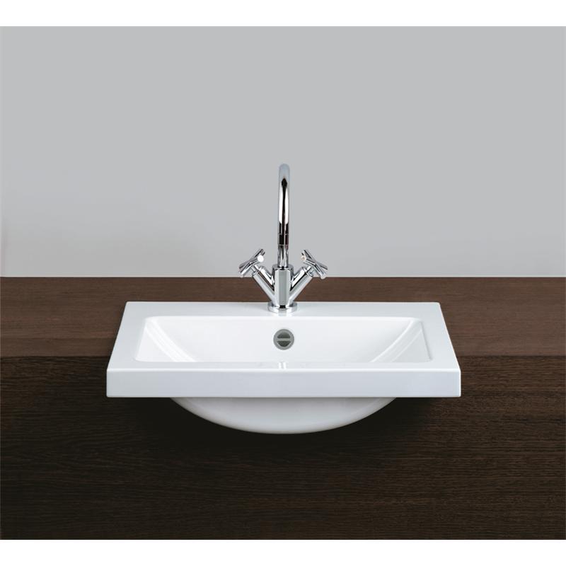 waschtisch halbeinbaubecken rechteckig weiss waschbecken pflegeleicht mit hahnloch und berlauf. Black Bedroom Furniture Sets. Home Design Ideas