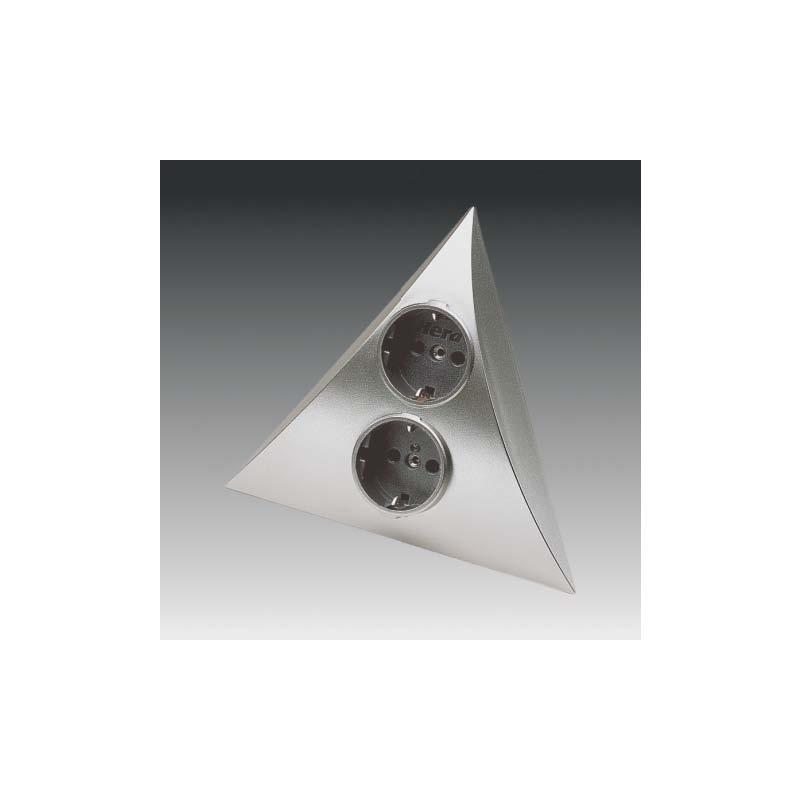 doppelsteckdose pyramiden element luxor edelstahl eckeinbau zwei schukosteckdosen 250 v hera. Black Bedroom Furniture Sets. Home Design Ideas