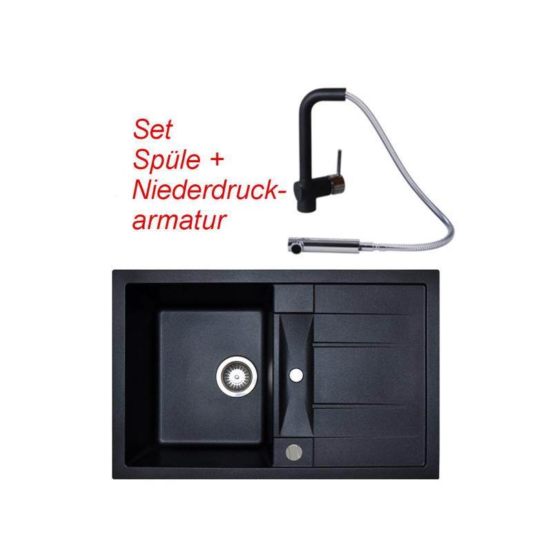 set granitsp le schwarz victory m780 und vaf niederdruck armatur einhebelmischer. Black Bedroom Furniture Sets. Home Design Ideas