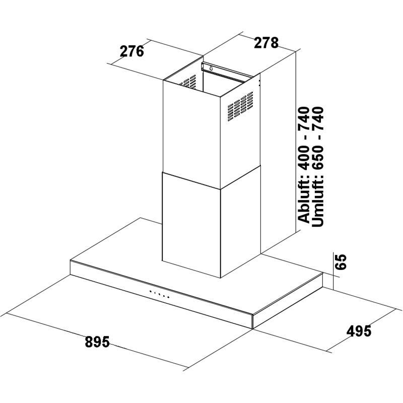 dunstabzugshaube wandhaube polo 90 cm edelstahl schwarzglasfront teleskopschacht. Black Bedroom Furniture Sets. Home Design Ideas