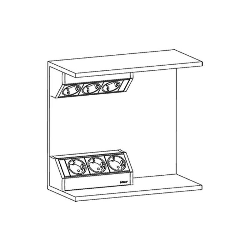evoline steckdose dock cuisine edelstahl optik 3 fach ecksteckdose. Black Bedroom Furniture Sets. Home Design Ideas