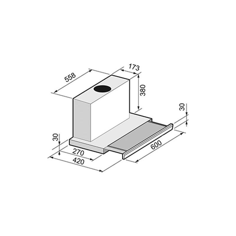 flachschirmhaube fl440 60 cm edelstahl front einbaul fter. Black Bedroom Furniture Sets. Home Design Ideas