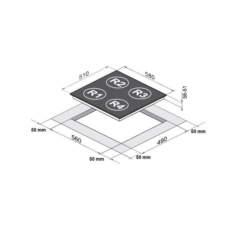 induktions kochfeld mit edelstahlschutzkante autark mit booster k che. Black Bedroom Furniture Sets. Home Design Ideas
