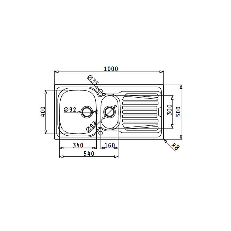 Maße Spüle edelstahlspüle sparta 2 leinen reversibel 60 cm schrank