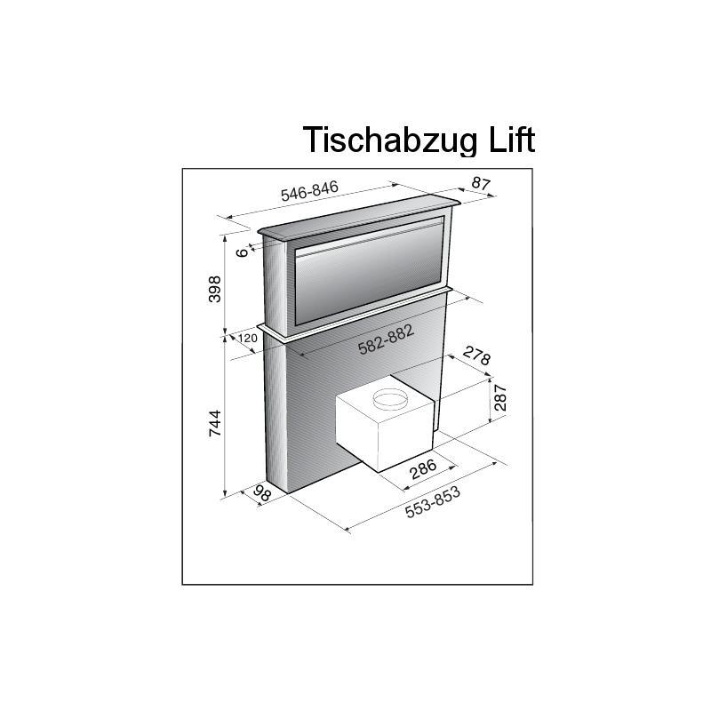 tischabzug lift 90 cm edelstahl schwarzglas umluft touch. Black Bedroom Furniture Sets. Home Design Ideas