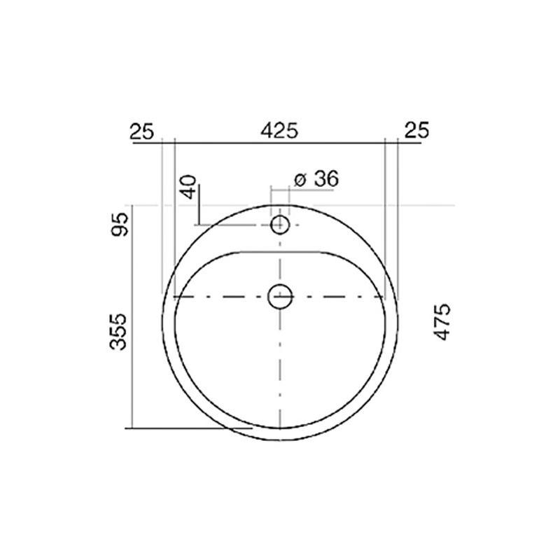 einbau waschbecken ew3 kreisf rmig 475 mm wei pflegeleicht hahnloch emailliert berlauf alape. Black Bedroom Furniture Sets. Home Design Ideas
