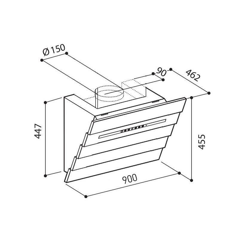 umluft abzugshaube kopffreihaube uranus 60 90cm edelstahl schwarz inkl abdeckung. Black Bedroom Furniture Sets. Home Design Ideas
