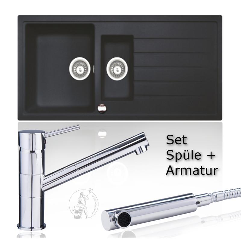 Set granitspule 60er einbauspule schwarz kuchenspule for Küchenspüle armatur
