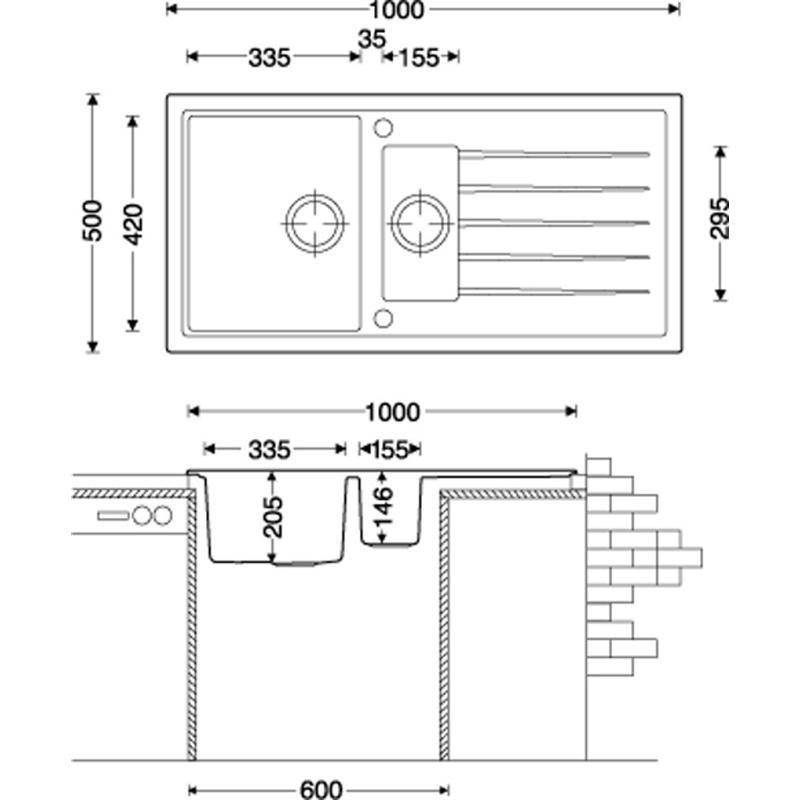 Granitspüle V1000 in verschiedenen Farben 100 x 50 cm inkl ...