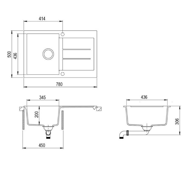 victory granitsp le einbau sp lbecken schwarz armatur. Black Bedroom Furniture Sets. Home Design Ideas