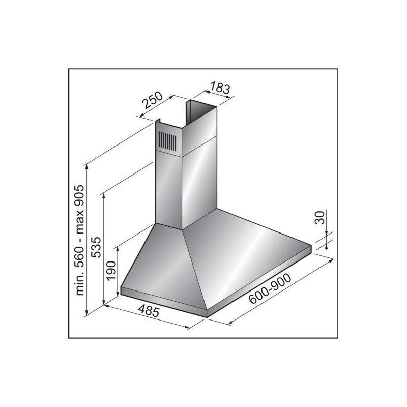 dunstabzugshaube orkan 60 cm wandhaube abluftablufthaube telekop kamin dunstabzug esse k che. Black Bedroom Furniture Sets. Home Design Ideas