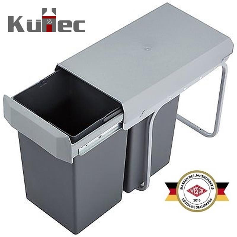 Einbau Mülleimer 2 Fach : einbau abfallsammler 2 x 15 liter silber anthrazit ~ Watch28wear.com Haus und Dekorationen