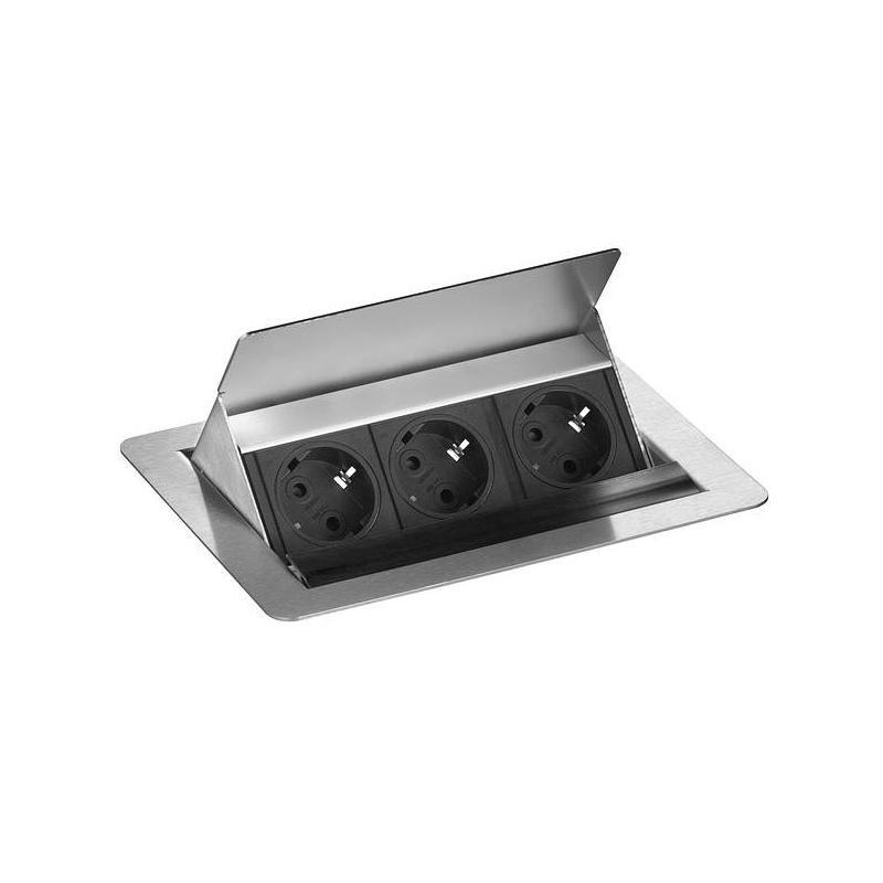 evoline fliptop edelstahl 3er steckdose versenkbar klappbar. Black Bedroom Furniture Sets. Home Design Ideas