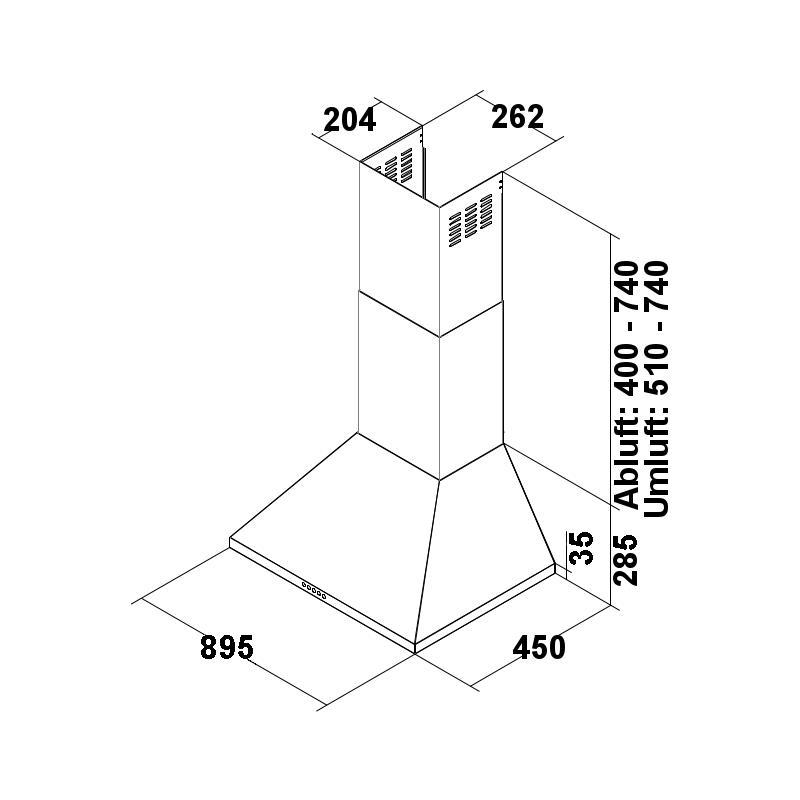 dunstabzugshaube orkan 90 cm abluft wandhaube edelstahl inkl teleskopschacht ebay. Black Bedroom Furniture Sets. Home Design Ideas