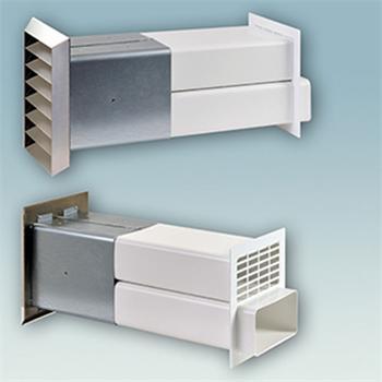 ab und zuluft mauerkasten edelstahlgitter 150er system flachanschluss abluft ikm r ckstauklappe. Black Bedroom Furniture Sets. Home Design Ideas