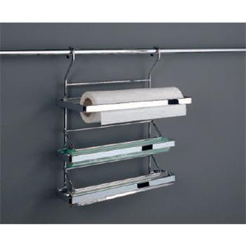 3 etagiger papierrollenhalter f r relingsystem linero edelstahl optik mit abrisskante k che. Black Bedroom Furniture Sets. Home Design Ideas