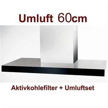 umluft set wandhaube polo 60 cm edelstahl schwarzglas front umlufthaube dunstabzugshaube. Black Bedroom Furniture Sets. Home Design Ideas
