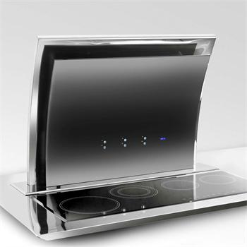 bodenhaube edelstahl poliert mit schwarzglas k che dunstabzug led fernbed. Black Bedroom Furniture Sets. Home Design Ideas