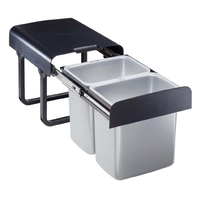 Einbau Abfallsammler 32 L (2x16 Liter) grau ab 40er Schrank Mülleimer Vollauszug