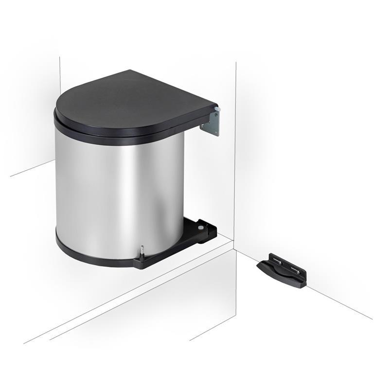 wesco einbau abfallsammler 11 l rund silber m lleimer. Black Bedroom Furniture Sets. Home Design Ideas