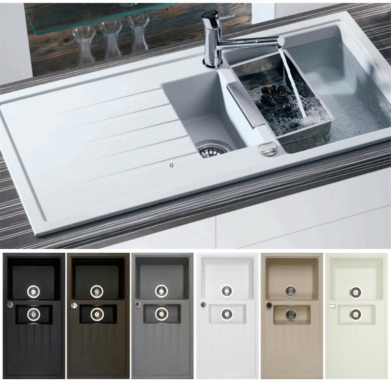 victory v1000 granitsp le 100x50cm k chensp le einbau sp lbecken ab 60er schrank ebay. Black Bedroom Furniture Sets. Home Design Ideas