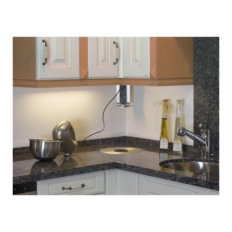 PowerPortPP3 silber Küche Einbau Inselsteckdose 3er Steckdosenelement versenkbar